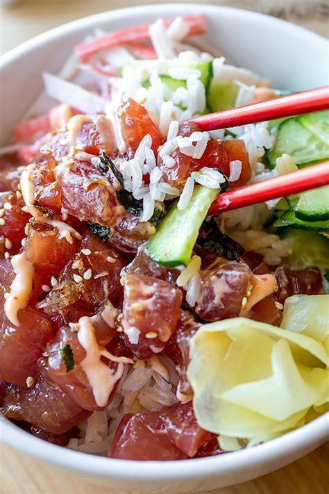 light food near me poke bowl with spicy ahi tuna