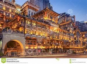 Chongqing, China At Hongyadong Hillside Buildings ...