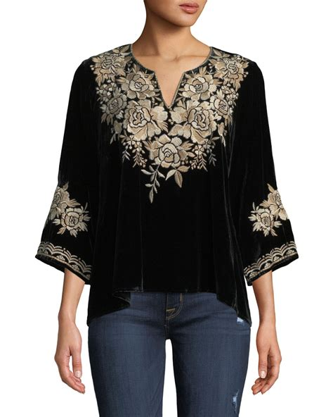 Embroidered Velvet Top johnny was ollena floral embroidered velvet top