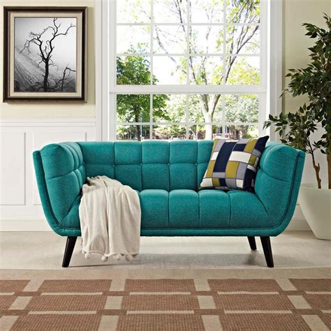 Teal Loveseat by Baxton Studio Arcadia Contemporary Light Beige Fabric
