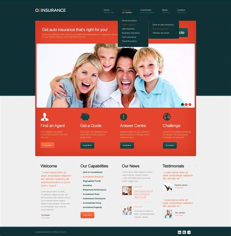 I hope with this file you can easily design you website. Insurance Website Template #42054