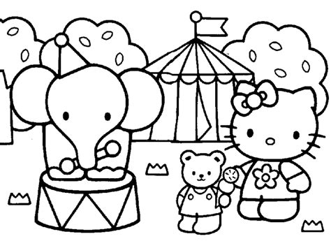 And Print Hello Kitty Friends Elephant Circus Coloring