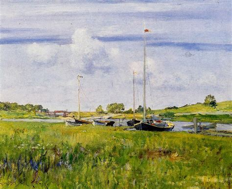 U Boat Landing Long Island by Paintings Of Spring William Merritt Chase 1 Noiembrie