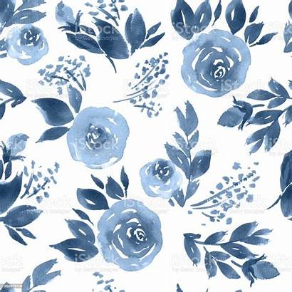 Watercolor Pattern Floral Roses Indigo Seamless Flowers