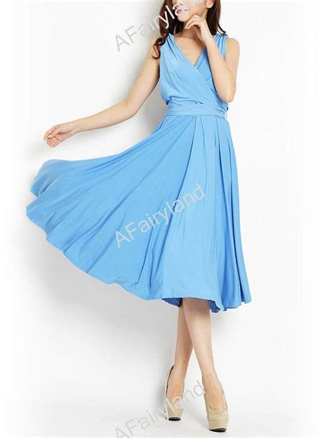 kleid chiffon hellblau mode kleidung