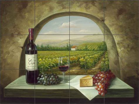 Ceramic Tile Mural Backsplash Ching Wine Grape Vineyard