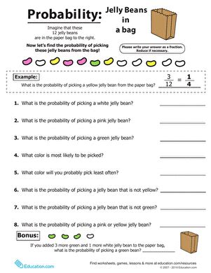 Spring Math Jelly Bean Probability  Worksheet Educationcom