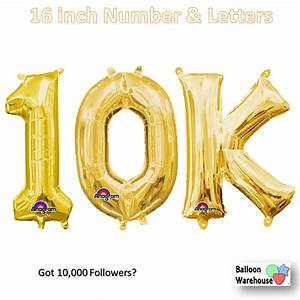 """Gold Number """"10K"""" - 16in. Air-Fill Mylar Balloons ...  10k"""