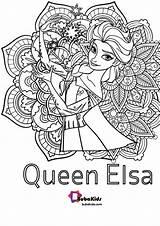 Elsa Coloring Queen Floral Bubakids sketch template