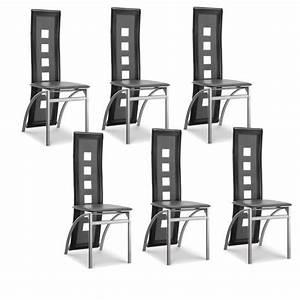 Lot De 6 Chaises Pas Cher : eiffel lot de 6 chaises de salle manger noires et blanches simili et aluminium design ~ Teatrodelosmanantiales.com Idées de Décoration