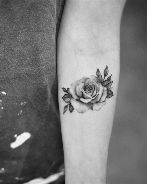 single needle rose tattoo   left  forearm