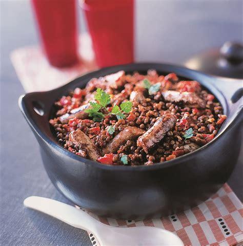 lentilles cuisiner recette rougail de saucisses aux lentilles