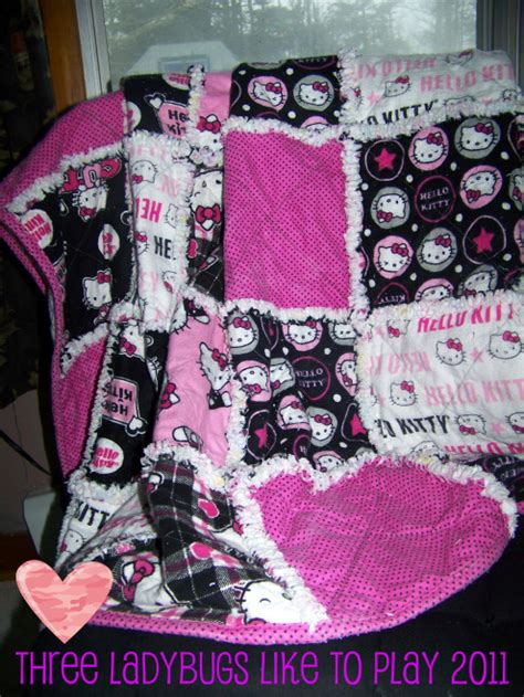 hello kitty quilt quilts three ladybugs