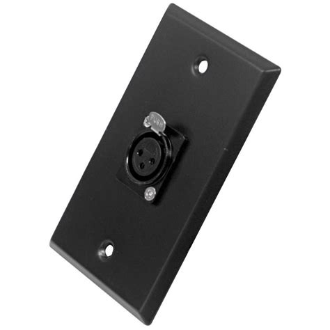 single xlr female connector black wall plate wall plate  cable installation black