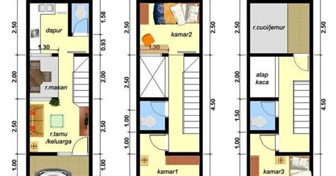 desain rumah lebar  meter  lantai  kamar tidur partukang