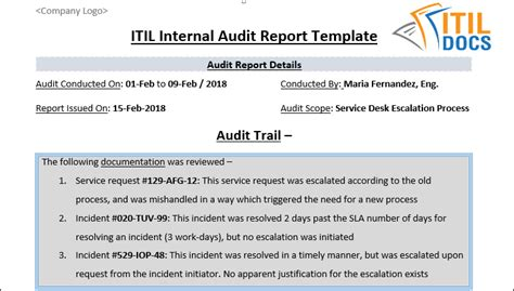 Because of that fact, entrepreneurs put in some of their time, effort, and even money to. ITIL Internal Audit Report Template - ITIL Docs