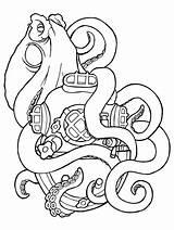 Octopus Squid Coloring Pages Sisters Tattoo Cartoon Printable Tentacles Aquatic Vertebrae Gaddynippercrayons sketch template