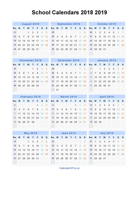 2018 2019 academic calendar template school calendars 2018 2019 calendar from august 2018 to july 2019