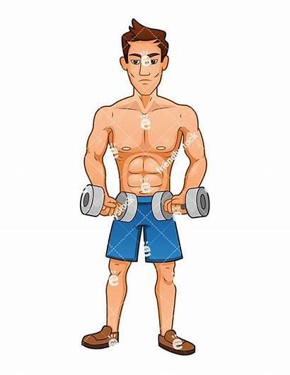 Cartoon Buff Exercising Muscle Clipart Muscular Dumbbells
