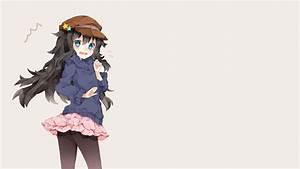 4568875, Black, Hair, Anime, Pantyhose, Skirt, Anime, Girls, Hat, Blue, Eyes, Long, Hair