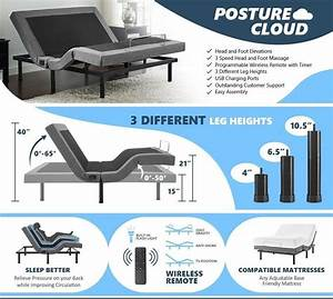 Adjustable Bed Base With Massage Function  Wireless Remote