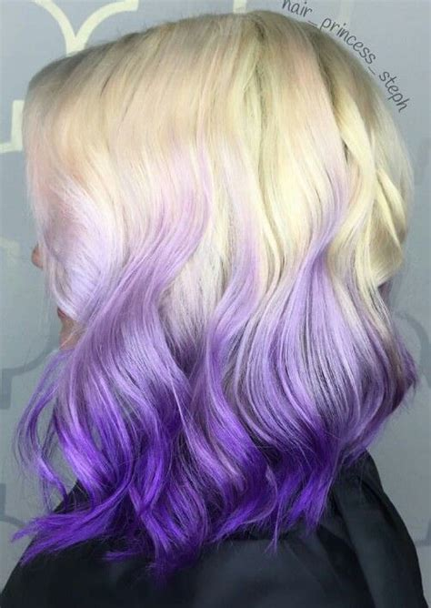 Blonde Ombre Purple Dyed Hair Color Dyed Hair And Pastel