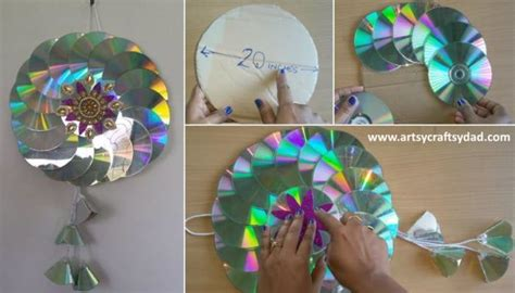 string wall art  recycled cds