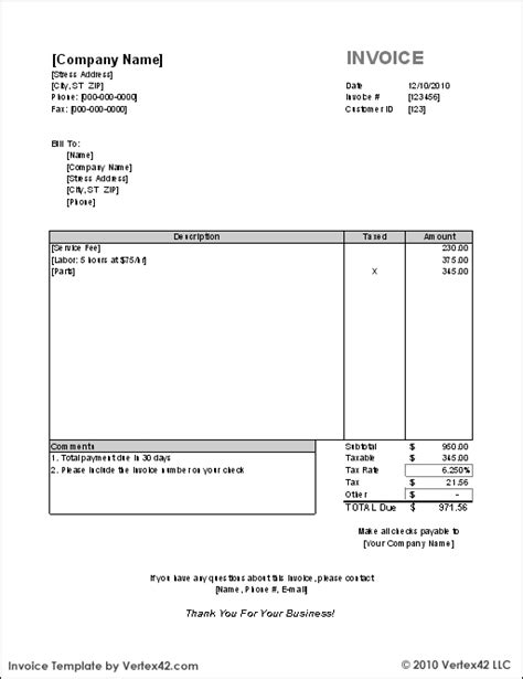 Invoice Templates Excel Free Invoice Template For Excel