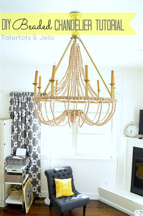 how to make a diy wood beaded chandelier tatertots