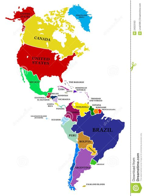 map north  south america stock  image
