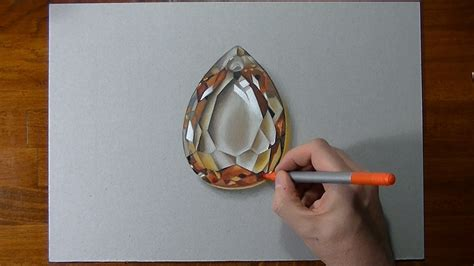 drawing time lapse golden topaz gemstone amazing drawings pencil jewelry drawing
