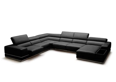 black leather sectional with ottoman full leather sectional sofa viva leather sectionals