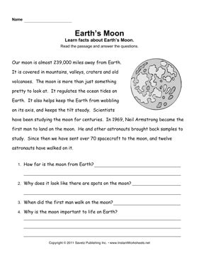 solar system reading comprehension worksheets page