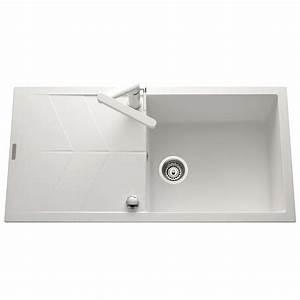 Evier Grand Bac Profond : lot evier granit blanc 1 grand bac nova mitigeur ~ Premium-room.com Idées de Décoration