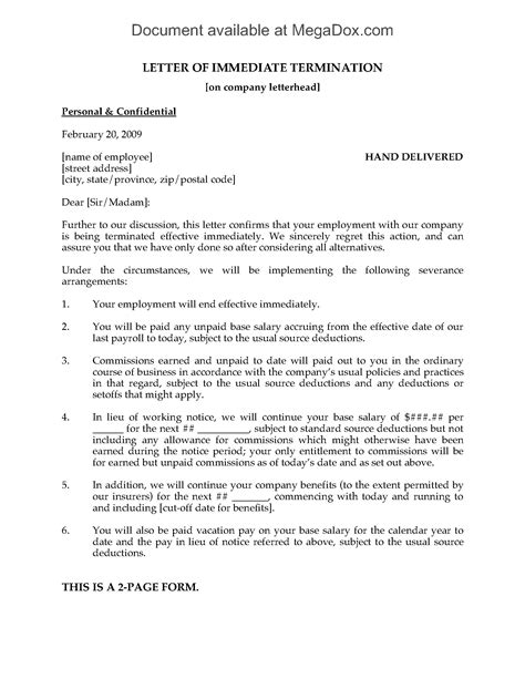 Letter of Immediate Termination of Employment | Legal