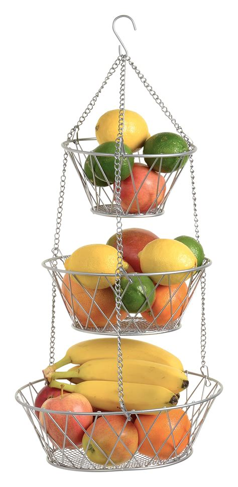 heavy duty  tier hanging kitchen silver fruit basket