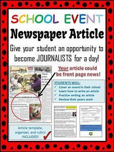School Event Newspaper Article  Peer Review  Template   U0026 Editable Rubric