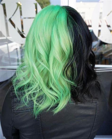 Half Neon Green Half Black Hair Hair By Jaylen Zanelli