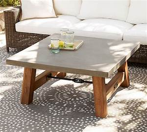 abbott square coffee table pottery barn With concrete coffee table and end tables