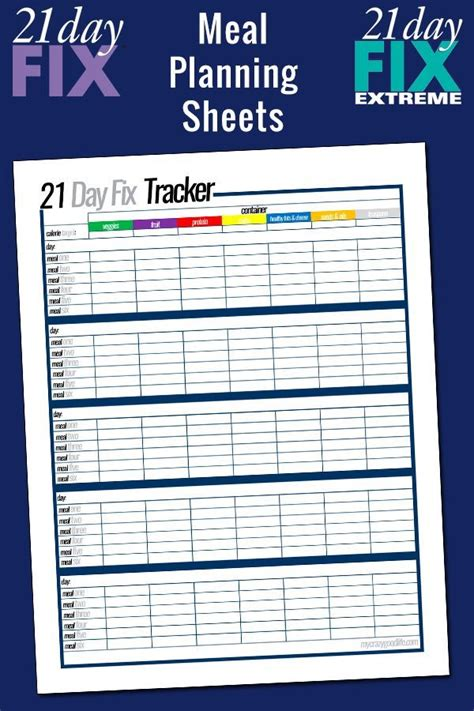 printable  day fix meal planning sheets  crazy