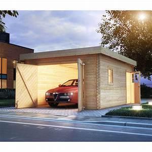 Toit En Bois : garage en bois massif toit plat 20 78m madriers 40mm ~ Melissatoandfro.com Idées de Décoration