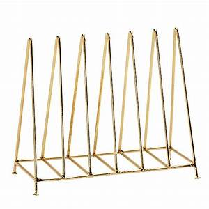 Letter rack organizer triangle shiny gold madam for Gold letter rack