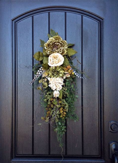 fall wreath autumn wreath ivory  green peony teardrop
