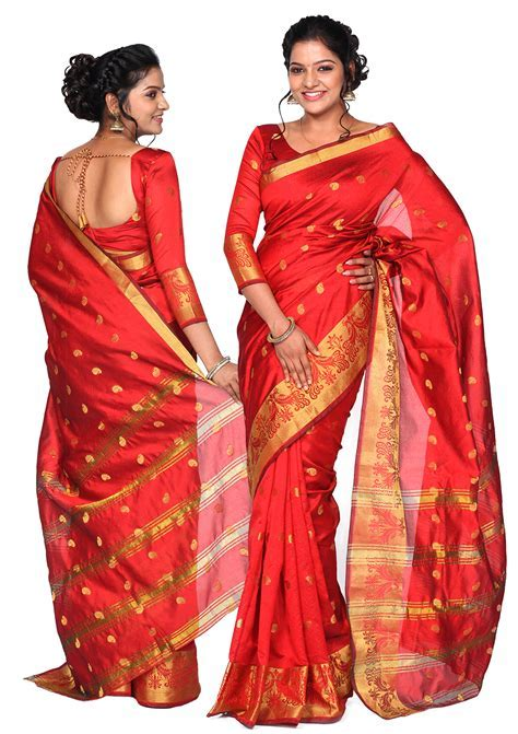 Nethra Red Silk Cotton Saree Collection