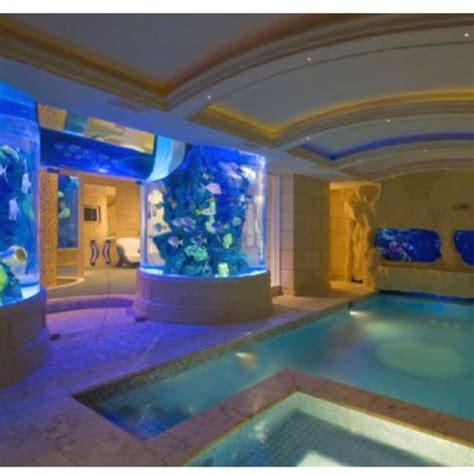 omg indoor pool  aquariums  walls