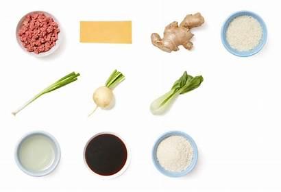 Ginger Meatballs Scallion Rice Choy Marinated Bok
