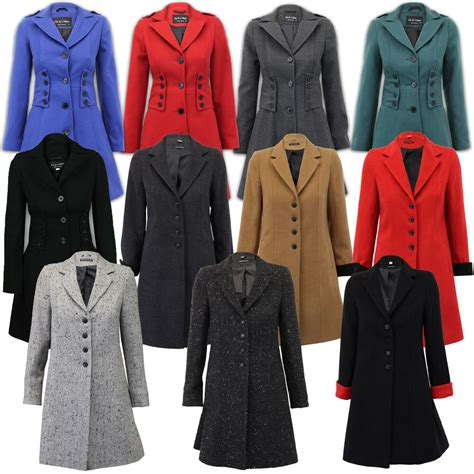 ladies coat womens jacket wool  military long button