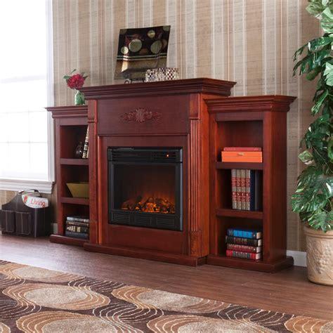 tennyson bookcase electric fireplace amazon com southern enterprises tennyson mahogany