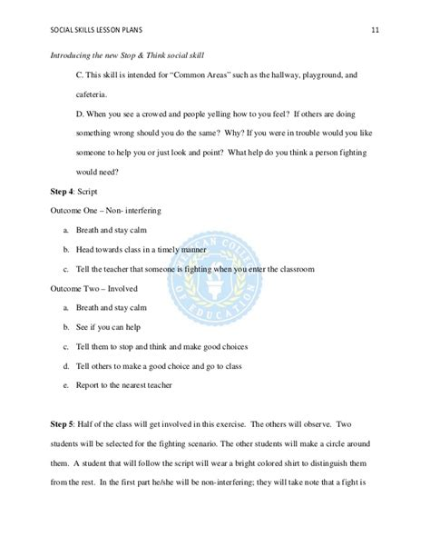 Social Skills Lesson Plan Template by Social Skills Lesson Plans