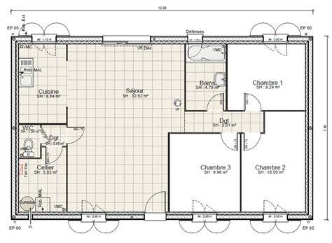 prix maison plain pied 3 chambres plan maison plain pied 3 chambres 100m2 fabulous plan de